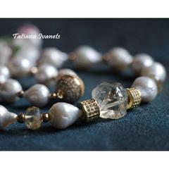 Ожерелье чокер из натурального жемчуга и цитрина