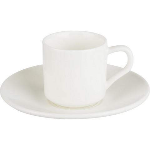 Кофейная пара Wilmax фарфоровая белая чашка 90 мл/блюдце (артикул производителя WL-993007)