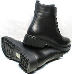 Стильные осенние ботинки женские на низком каблуке Misss Roy 252-01 Black Leather.