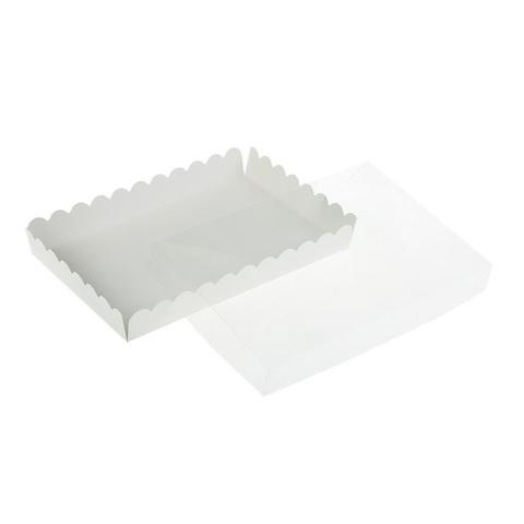 Коробка для пряников с прозрачной крышкой БЕЛАЯ ПРЯМОУГОЛЬНАЯ (23х30см h-3см)