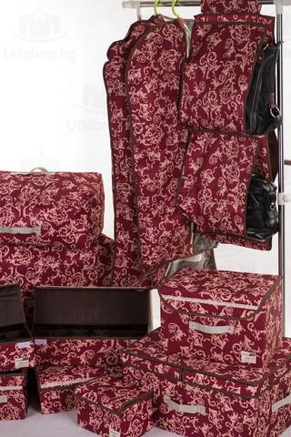 Подвесной органайзер для хранения женских сумок, 5 карманов (бордо с узорами)