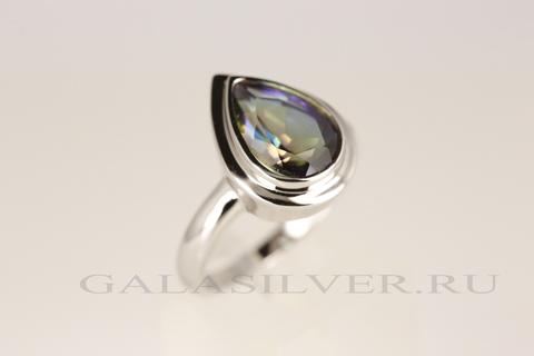 Кольцо с мистик топазом из серебра 925