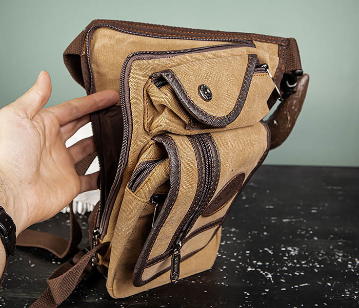 BAG506-2 Текстильная сумка на бедро коричневого цвета фото 10