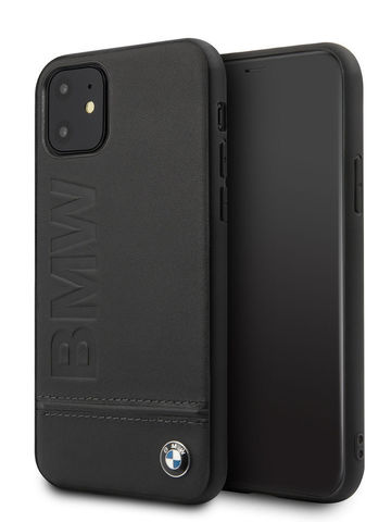 BMW / чехол для iPhone 11 | Signature Logo imprint Hard Leather Black
