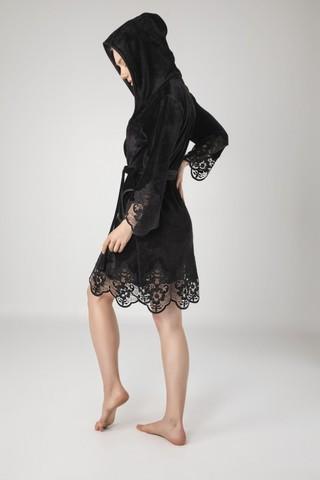 Халат женский велюровый с кружевом 0415 черный  NUSA Турция