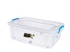 Контейнер для хранения Storage Box 30 литров на колёсах прозрачный с крышкой Эльфпласт 64х41,5х19,5 см