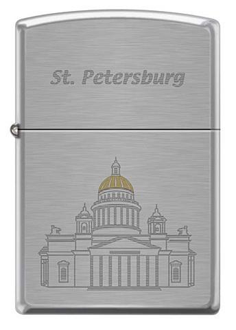 Зажигалка ZIPPO Исакиевский собор, латунь/сталь с покрытием Brushed Chrome, серебристая, 36x12x56 мм
