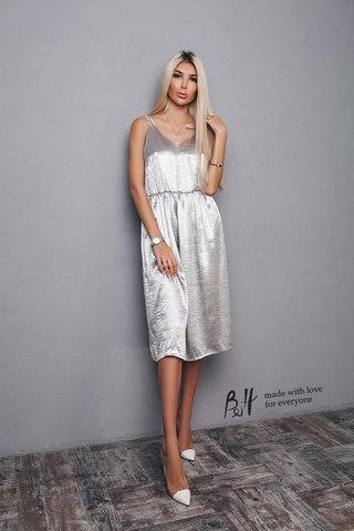 Платье-комбинация, миди, серебрянного цвета 1