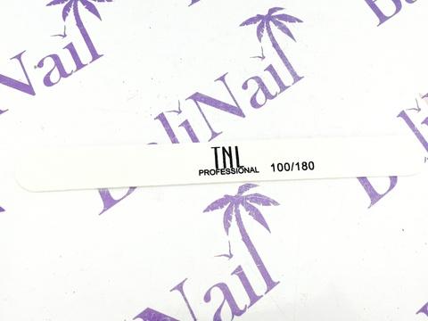 Пилка для ногтей тонкая 100/180 улучшенное качество (белая) в индивидуальной упаковке (деревянная основа)