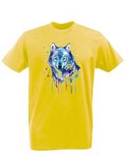 Футболка с принтом Волк (Wolf) желтая 002