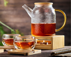 """Чайник """"Меркурий"""" 1 л стеклянный заварочный с подогревом от свечи и чашками"""
