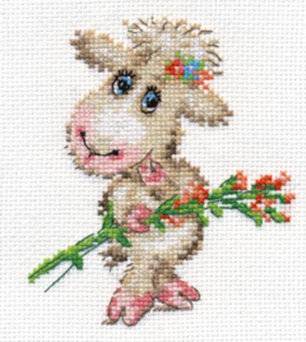 Милая овечка¶Размер: 10х12¶Количество цветов: 14