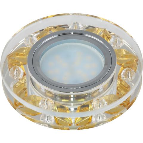 DLS-P103 GU5.3 CHROME/GOLD Светильник декоративный встраиваемый, серия Peonia. Без лампы, цоколь GU5.3. Металл/стекло. Хром/прозрачный+золото. ТМ Fametto