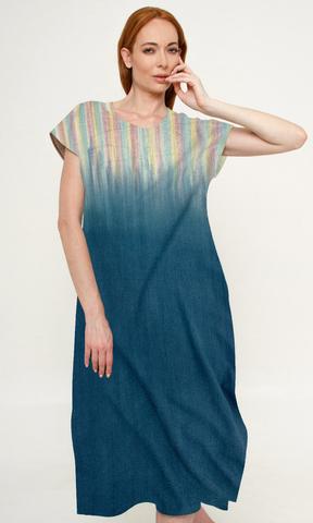 Платье из дикого шелка Сияние Деним