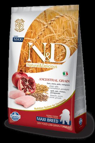 купить Farmina N&D Ancestral Grain Chicken & Pomegranate Puppy Maxi сухой низкозерновой корм для щенков, беременных и кормящих собак крупных пород