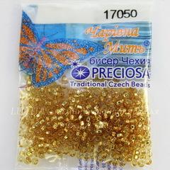 17050 Бисер 10/0 Preciosa прозрачный янтарный с серебряным квадратным центром