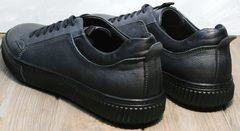 Черные кожаные кроссовки мужские Komcero 9K9154-734 Black-Grey