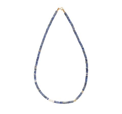 Ожерелье из синего азурита в позолоте
