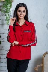 Джен. Рубашка молодежная с лампасом. Красный