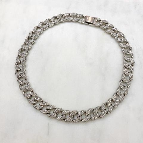 Колье-цепь с фианитами 50 см (серебристый)