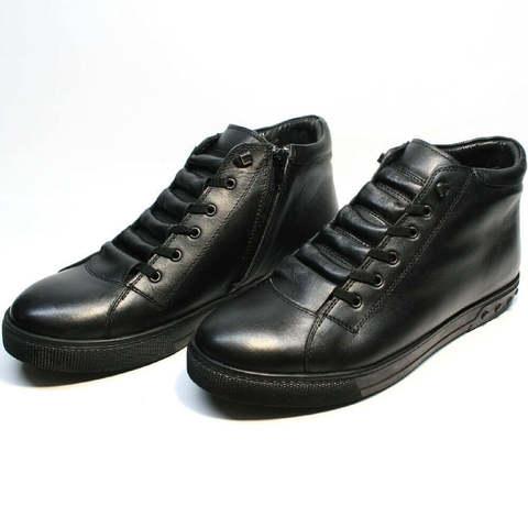 Модные ботинки мужские зимние кожаные. Зимние кеды мужские с мехом Ridge X-Black.