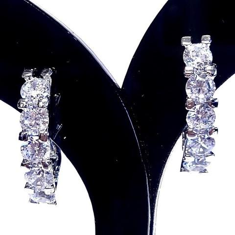 Швензы с цирконами платина (1 пара) арт. lux-fur-665-2