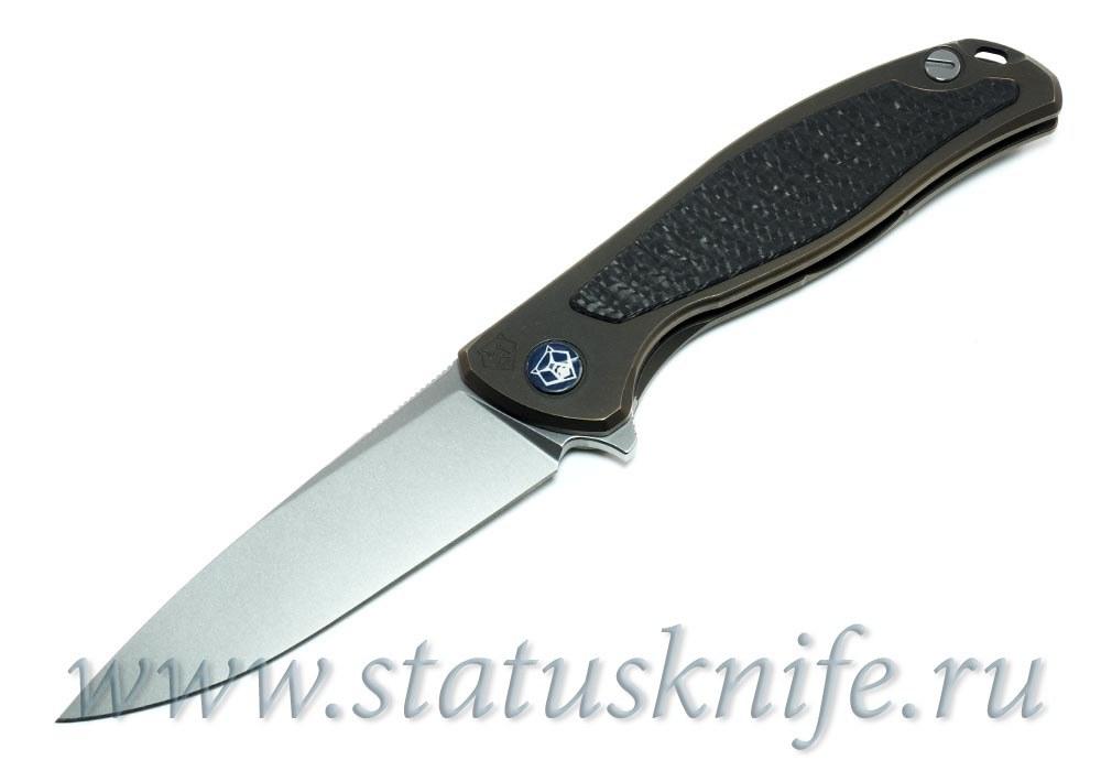 Нож Широгоров Флиппер 95 M390 CF накладка Карбон выборки - фотография