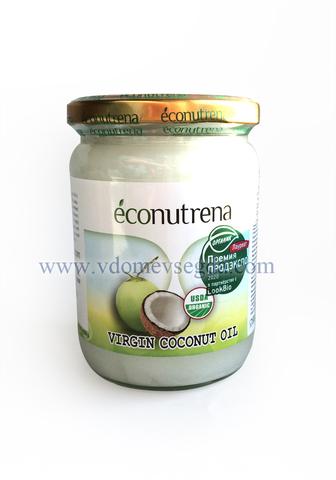 Кокосовое масло Econutrena органическое первый холодный отжим 500мл стекло