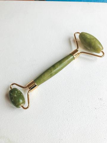 Нефритовый массажер для лица двусторонний, зеленый