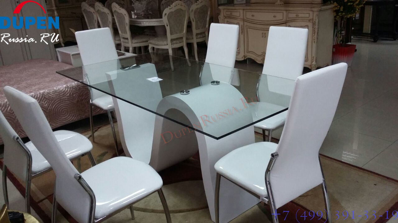 Обеденный стол DUPEN (Дюпен) DT-04 и стулья ESF L23 белые