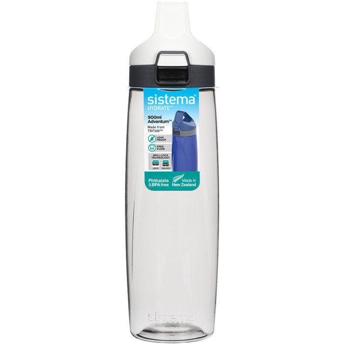 """Бутылка для воды с кнопкой Sistema """"Hydrate"""", Тритан, 900 мл, цвет Белый"""