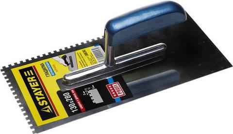 STAYER Profi 130х280 мм, 8х8 мм, гладилка штукатурная зубчатая нержавеющая с деревянной ручкой