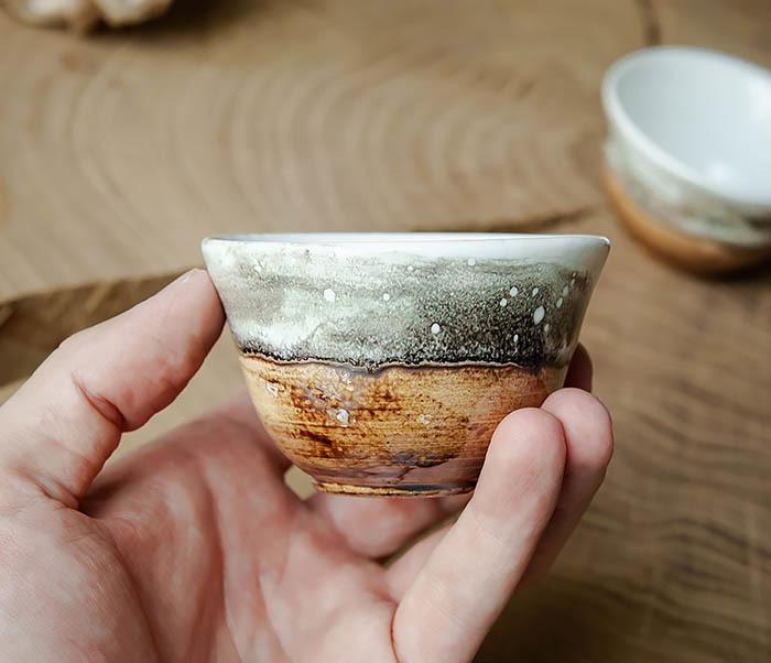 CUP101-2 Керамическая пиала для чая ручная работа, серия «Млечный Путь» фото 06