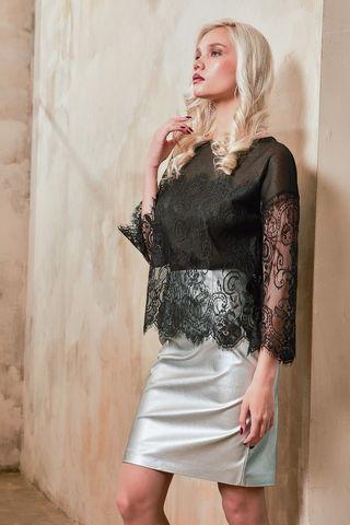 Фото серебристая юбка-карандаш классического прямого кроя - Юбка Б129а-731 (1)