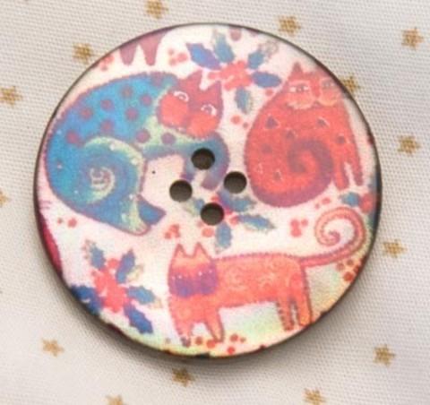 Пуговица с кошками: оранжевой, бирюзовой, малиновой, роспись по перламутру, 28 мм