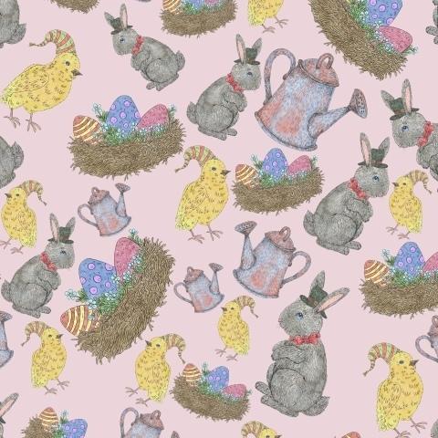 Пасхальный паттерн с кроликами, яйцами и цыплятами