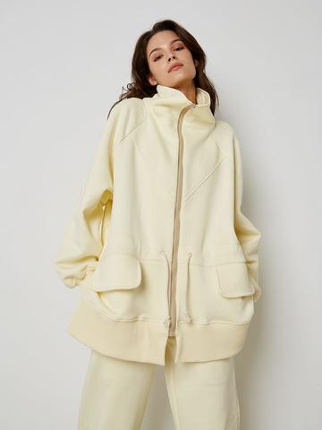 Куртка с кулисой из футера сливочный