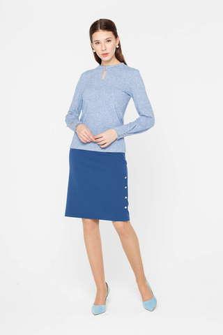 Фото голубая юбка прямого кроя с декоративными пуговицами - Юбка Б124а-741 (1)