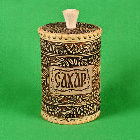 Туес сахар рябинка малый, диаметр 8,5 см, высота 12,5 см, объём 0,5 л, вес 95 г  (Артикул 355) (сахар-400гр)