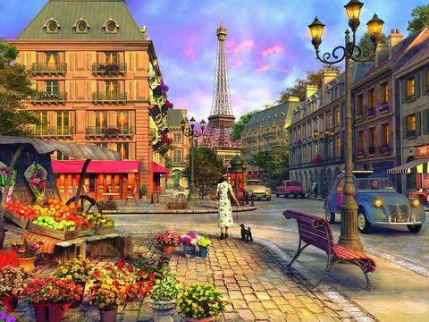 Алмазная Мозаика 40x50 Оживленная улица уютного города (арт. MGL8069 )