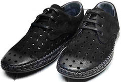 Модные туфли мужские мокасины на шнурках летние стиль casual Luciano Bellini 91754-S-315 All Black.