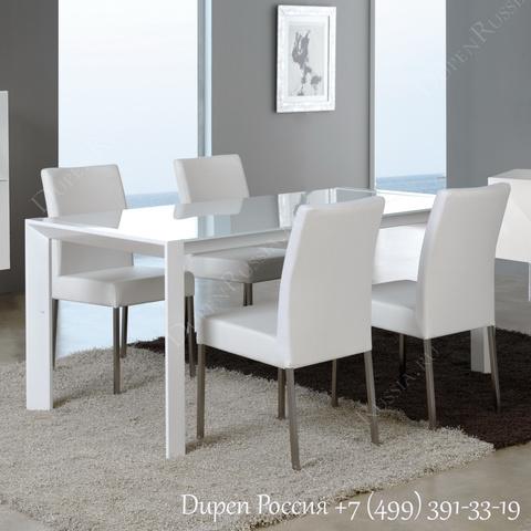 Обеденный стол DUPEN DT-11 Раскладной Белый, стулья DUPEN DC-101