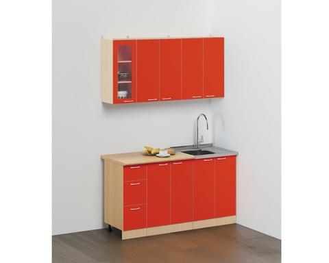Кухня ЭКОНОМ -2 КХ-11 дуб белёный / красный