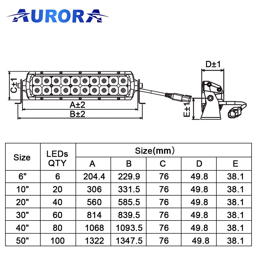Фара Aurora 50 комбинированного белого света ALO-D5D-50С ALO-D5D-50С