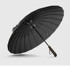 Элегантный зонт трость с деревянной ручкой, 24 спицы OLYCAT (черный)