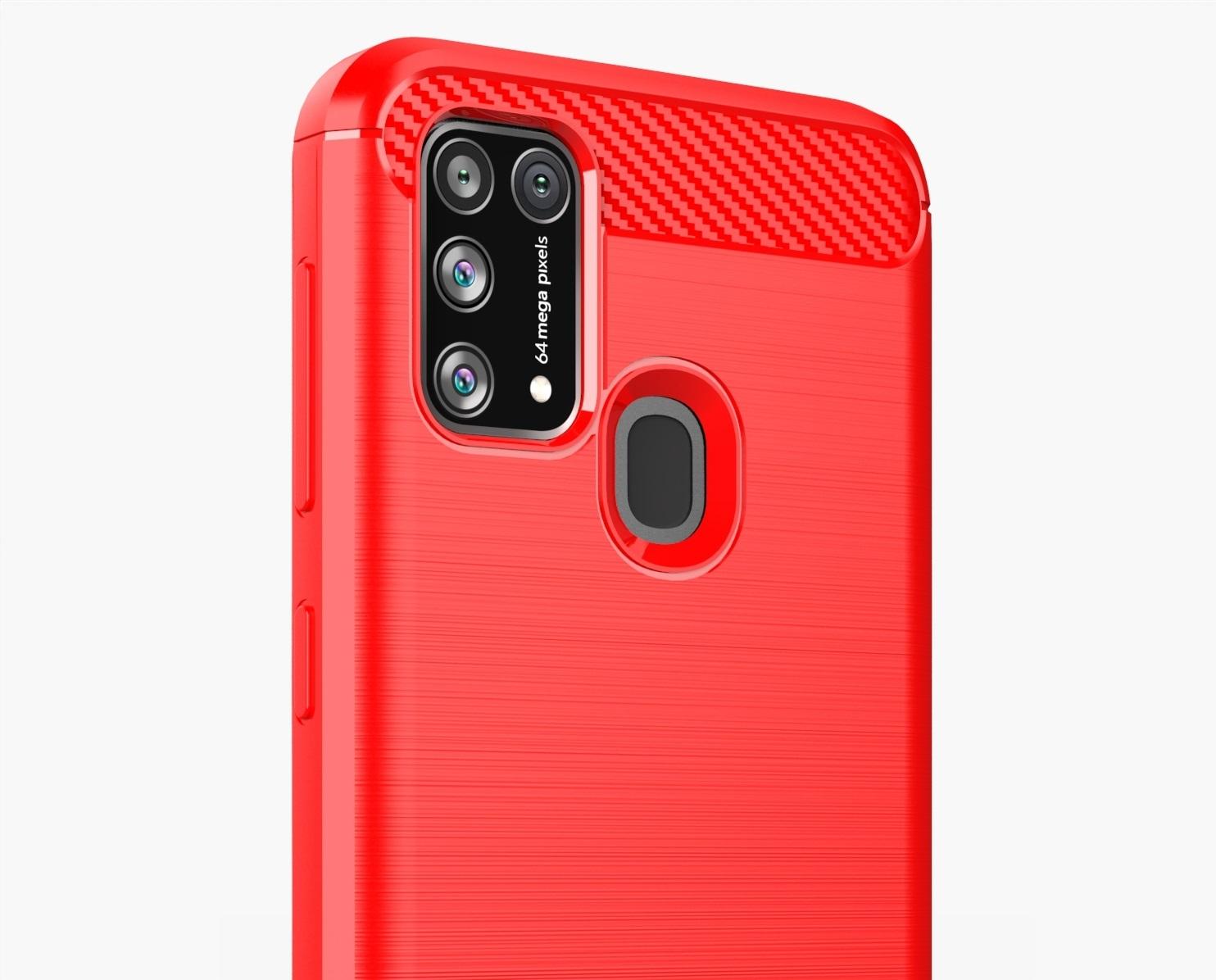 Красный противоударный чехол для Samsung Galaxy M31, серии Carbon от Caseport