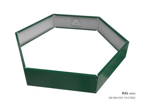 Клумба многоугольная оцинкованная 1 ярус  RAL 6005 Зеленый мох