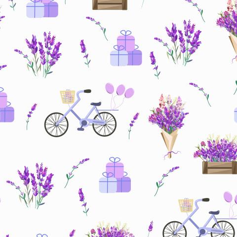 Цветы лаванды и велосипеды с подарками