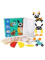 Развивающие пазлы Монтессори ZhikuBao Животные 29 геометрических фигур, 20 карточек для детей от 3-х лет