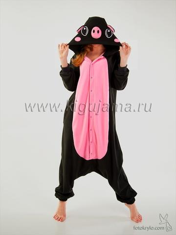 """Пижама кигуруми """"Поросенок"""" черно-розовый"""